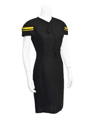 Versace Black and yellow linen dress
