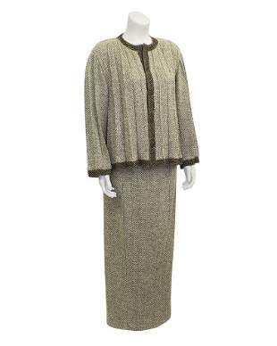 Chanel Brown Pleated Jacket Skirt Suit