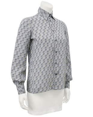 Salvatore Ferragamo Gray Silk Blouse with Logo Link