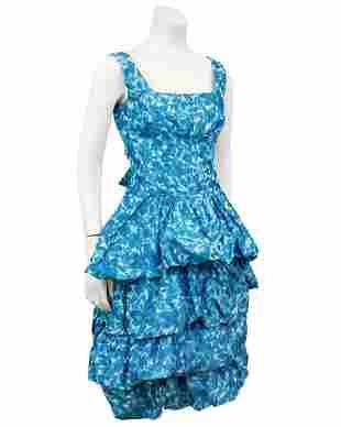Anonymous Blue Silk Taffeta Cocktail Dress and Opera