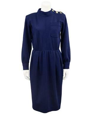Yves Saint Laurent Navy wool day dress