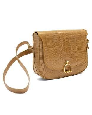 Anonymous  Tan/taupe embossed skin shoulder bag