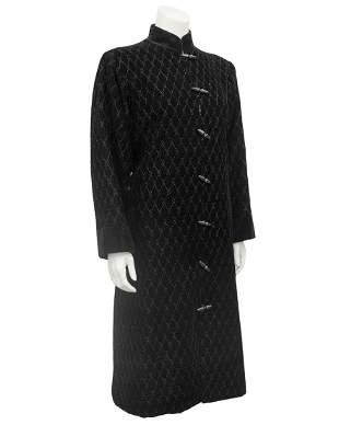 Yves Saint Laurent Black quilted velvet coat