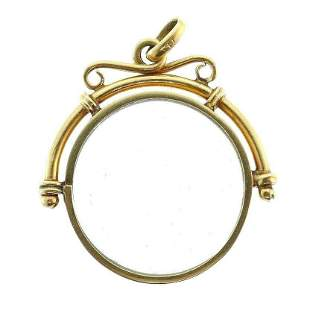 Vintage 14k Yellow Gold Framed Glass Circle Pendant