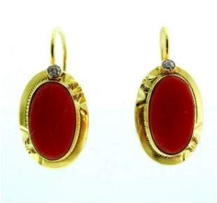 18k Yellow Gold Coral Diamond Earrings
