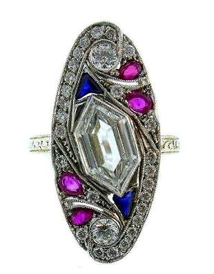 18k White Gold Diamond Ruby Sapphire Ring