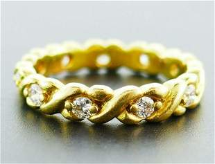 18k Yellow Gold Twisted Diamond Band