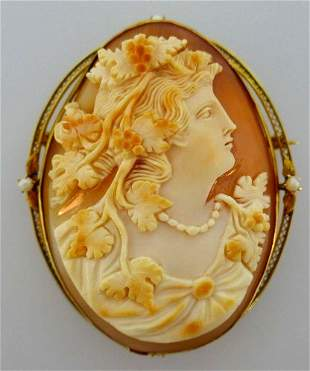 10k Yellow Gold Victorian Carved Cameo Pearl Brooch