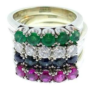 Vintage 14k White Gold Diamond Precious Stones Ring
