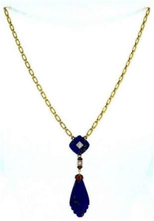 10k Yellow Gold Antique Diamond Enamel Lapis Necklace