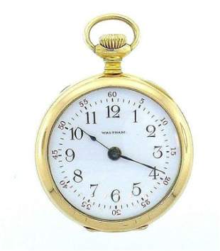 14k Yellow Gold Diamond Waltham Pocket Watch