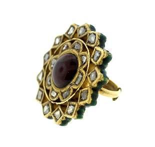 18K GOLD ROSECUT DIAMOND RUBY ENAMEL C.1920 UNIQUE RING