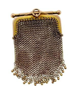ADORABLE VICTORIAN C.1900 9K YELLOW GOLD MESH PURSE