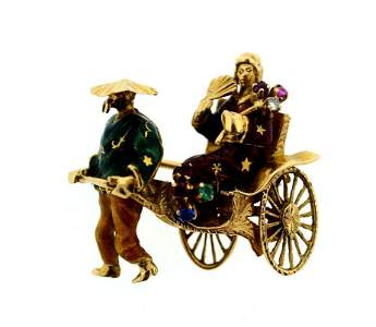 18K 750 YELLOW GOLD ENAMEL RIKSHA BROOCH PIN STAMPED