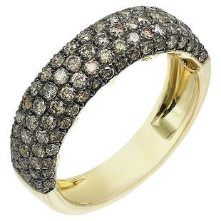 Classic Brown Diamond Yellow Gold 4-Row Band Ring