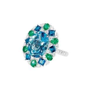 Natkina Three-Stone Diamond Blue Topaz Rare Emerald 18
