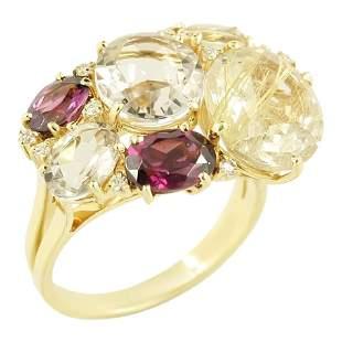 Diamond Garnet Fancy Quartz Yellow Gold 18 Karat