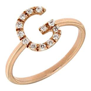 Bespoke Customizable Diamond Initials Ring For Her 18