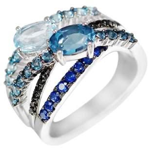 Topaz Blue Sapphire Diamond White Gold Ring