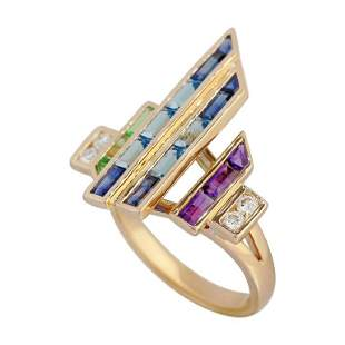 Topaz Blue Sapphire Amethyst Diamond Yellow Gold Ring