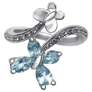 Reversible Modern Blue Topaz White Diamond White 18