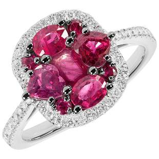 Original Natkina Red Ruby Diamond Romantic Gift Ring