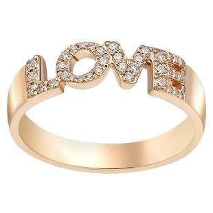 Natkina White Diamond Precious Yellow Gold LOVE Ring
