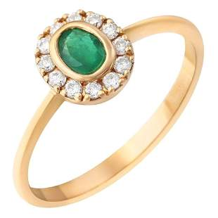 Natkina Green Emerald Diamond Precious Yellow Gold Ring
