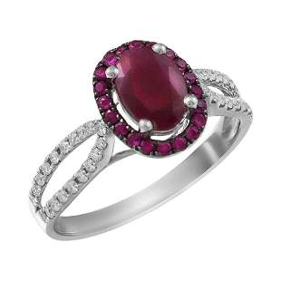 Impressive Ruby Diamond White Gold Ring