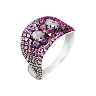 Impressive Amethyst Pink Sapphire Garnet Diamond White
