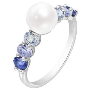 Amazing Pearl Blue Sapphire Diamond White Gold Ring