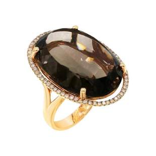 Precious Quartz Diamond Gold Yellow Ring