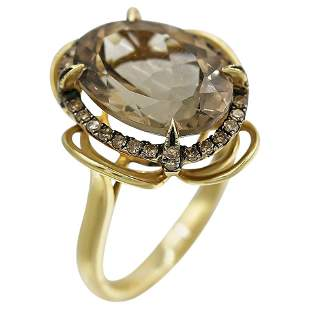 Natkina Quartz Diamond Precious Yellow Gold Ring