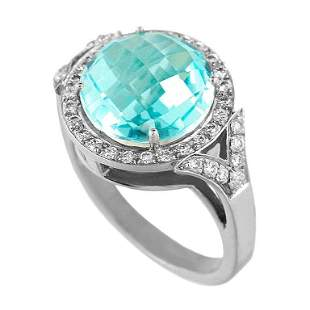 Fashion Topaz Diamond White Gold 18 Karat Ring