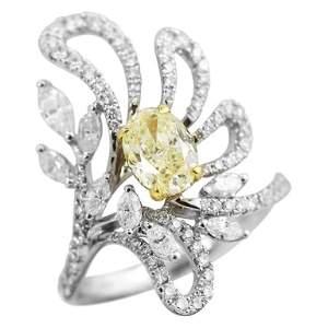 Fancy White Diamond White Gold Ring