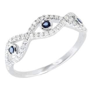 Evil Eye Deep Blue Sapphire 14 Karat White Gold Diamond