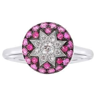 Rare Customize Ruby Pink Sapphire Diamond White Gold