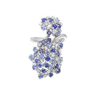 Precious Blue, Purple Sapphire White Diamond 18 Karat
