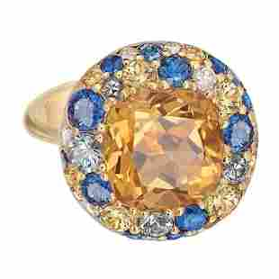 Citrine Yellow and Blue Sapphire 18 Karat Gold