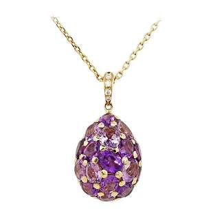 Fashion Amethyst Diamond Yellow Gold 18 Karat Necklace