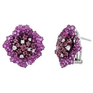 Ruby Diamond Pink Sapphire Precious White Gold Earrings