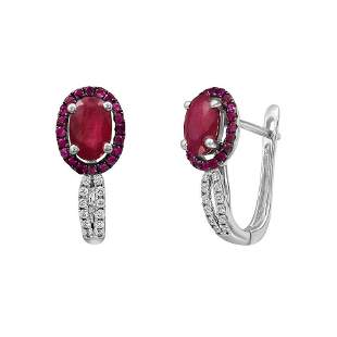 Impressive Ruby Diamond White Gold Earrings