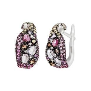 Impressive Amethyst Pink Sapphire Garnet Quartz Diamond
