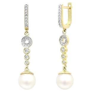 Delicate Feminine Pearl Yellow Gold Dangle Earrings