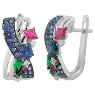 Natkina Blue Sapphire Ruby Tsavorite Diamond Lever-Back