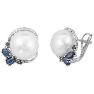 Modern Precious Pearl Diamond Blue Sapphire White Gold