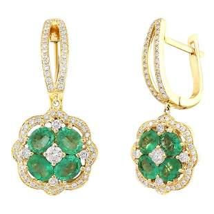 Impressive Emerald Diamond Yellow Gold Earrings