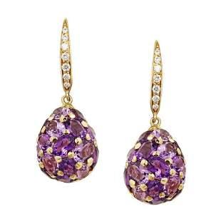 Fashion Amethyst Diamond Yellow Gold 18 Karat Drop