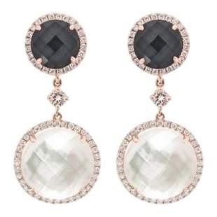 Chic Hematite Mother of Pearl Diamond Rose Gold Dangle