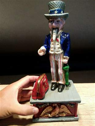 Uncle Sam Cast Iron Mechanical Coin Bank